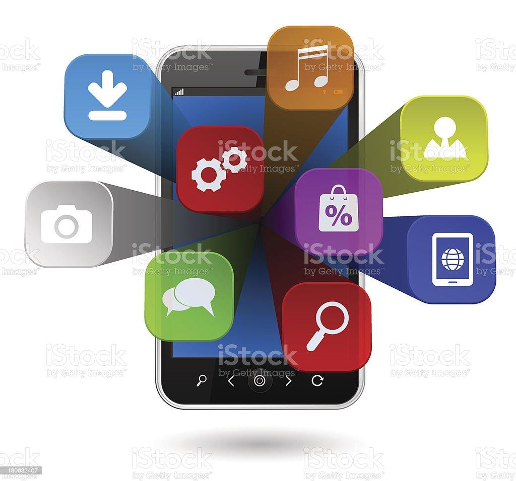 smartphone apps icônes 3d stock vecteur libres de droits 180632407