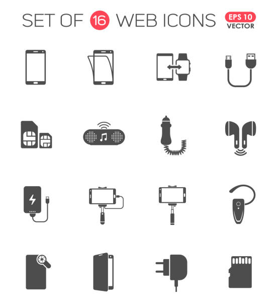 smartphone accessories icon set. smartphone accessories vector icons for web, mobile and user interface design smartphone accessories icon set. smartphone accessories vector icons for web, mobile and user interface design cell phone charger stock illustrations