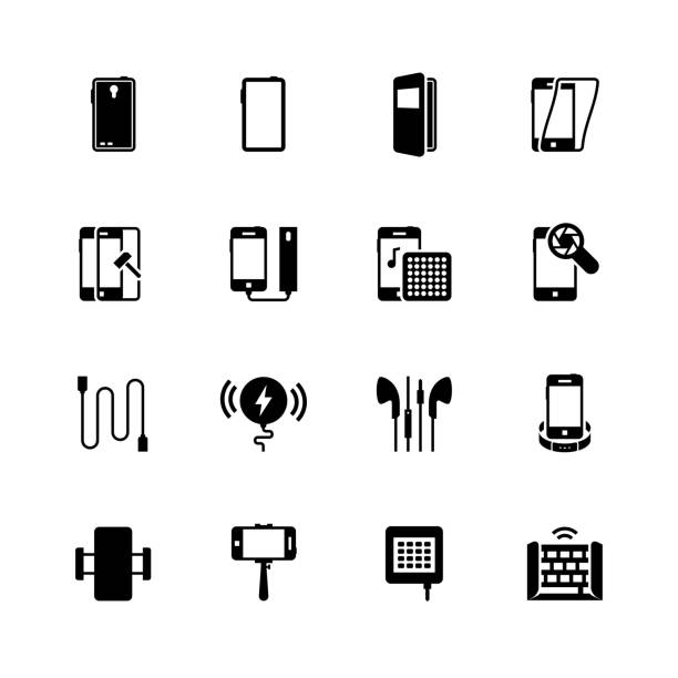 Smartphone accessories vector icon set Smartphone accessories vector icon set cell phone charger stock illustrations