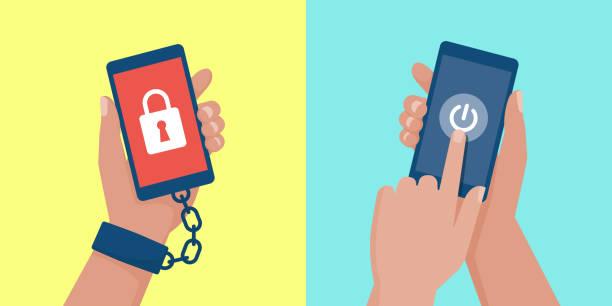 Smartphone-Sucht und digitale Entgiftung – Vektorgrafik