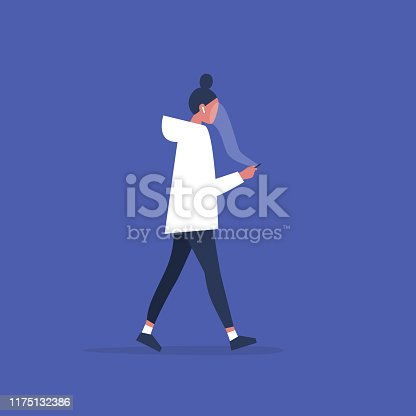 Smartphone addiction. Cloud. Young female user staring at the smartphone screen. Concept. Social media. Millennial issues. Flat editable vector illustration, clip art