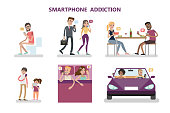 Smartphone addiction concept illustration.