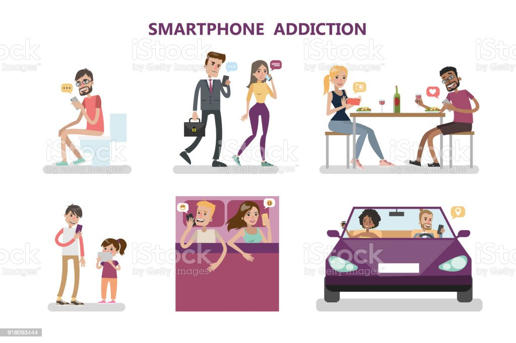 Smartphone addiction concept illustration. vector art illustration
