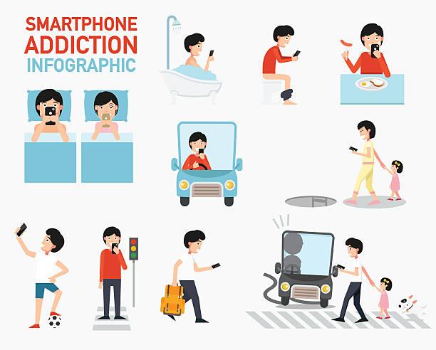 stockillustraties, clipart, cartoons en iconen met smartphone addiction infographic.vector - cell phone toilet
