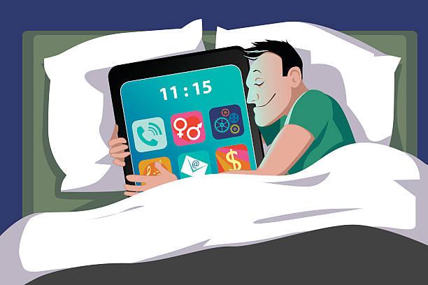 スマートフォン依存症 - スマホ ベッド点のイラスト素材/クリップアート素材/マンガ素材/アイコン素材