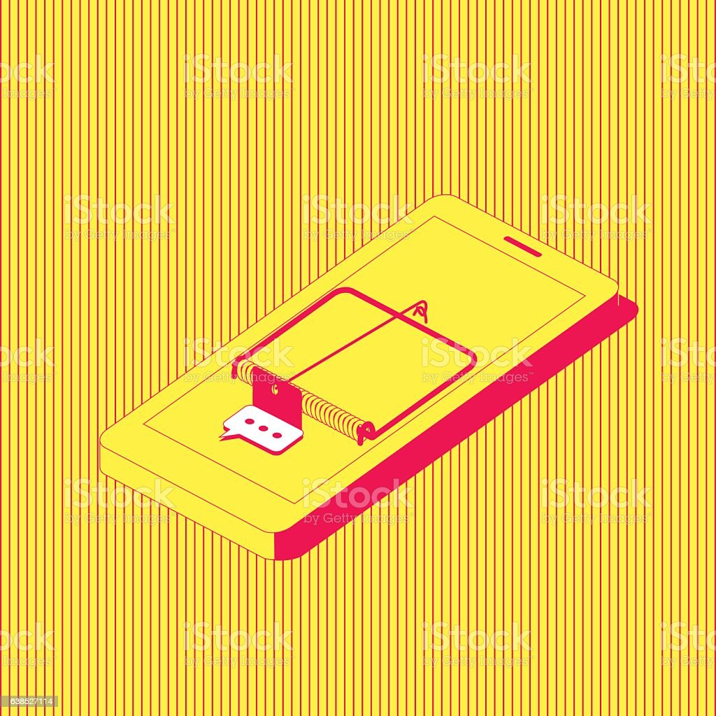 Smartphone addiction. vector art illustration