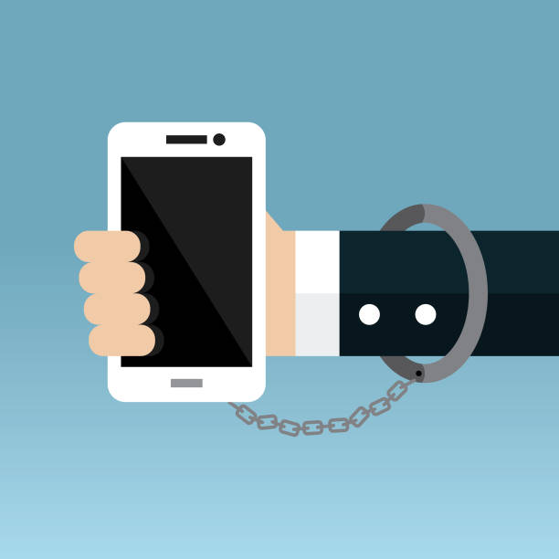 Smartphone addiction Telephone, Smart Phone, Internet, Technology, Handcuffs addict stock illustrations