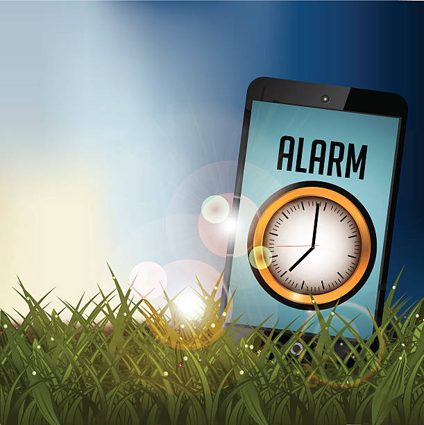smartphone alarm in a field at sunrise with copy space - spring forward stock illustrations, clip art, cartoons, & icons