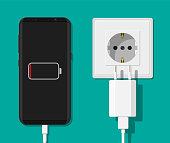 Smartphone and charger adapter.