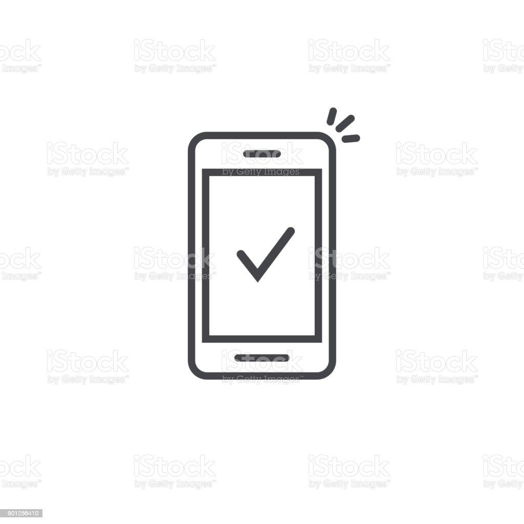 스마트폰 및 체크 벡터 아이콘, 선 개요 아트 휴대 전화 승인 틱 알림, 성공적인 업데이트 확인 표시, 핸드폰, 예 또는 투표에 허용, 완전 한 행동 - 로열티 프리 검사-보기 벡터 아트