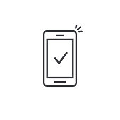Smartphone and checkmark vector icon, line outline art mobile phone approved tick notification, successful updated check mark, accepted, complete action on cellphone, yes or positive vote