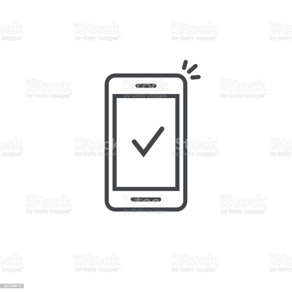 Smartphone and checkmark vector icon, line outline art mobile phone approved tick notification, successful update check mark, accepted, complete action on cellphone, yes or positive vote vector art illustration