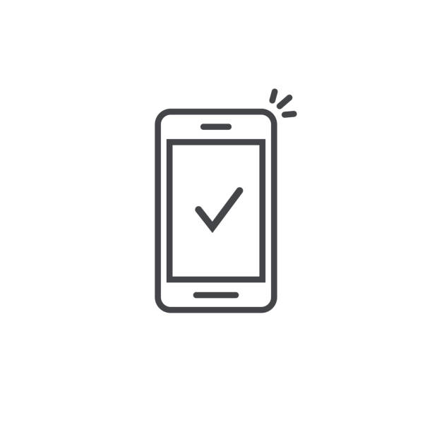 Smartphone and checkmark vector icon, line outline art mobile phone approved tick notification, successful update check mark, accepted, complete action on cellphone, yes or positive vote Smartphone and checkmark vector icon, line outline art mobile phone approved tick notification, successful updated check mark, accepted, complete action on cellphone, yes or positive vote iphone stock illustrations