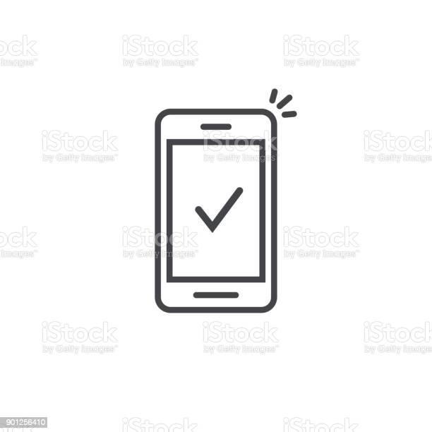 스마트폰 및 체크 벡터 아이콘 선 개요 아트 휴대 전화 승인 틱 알림 성공적인 업데이트 확인 표시 핸드폰 예 또는 투표에 허용 완전 한 행동 검사-보기에 대한 스톡 벡터 아트 및 기타 이미지