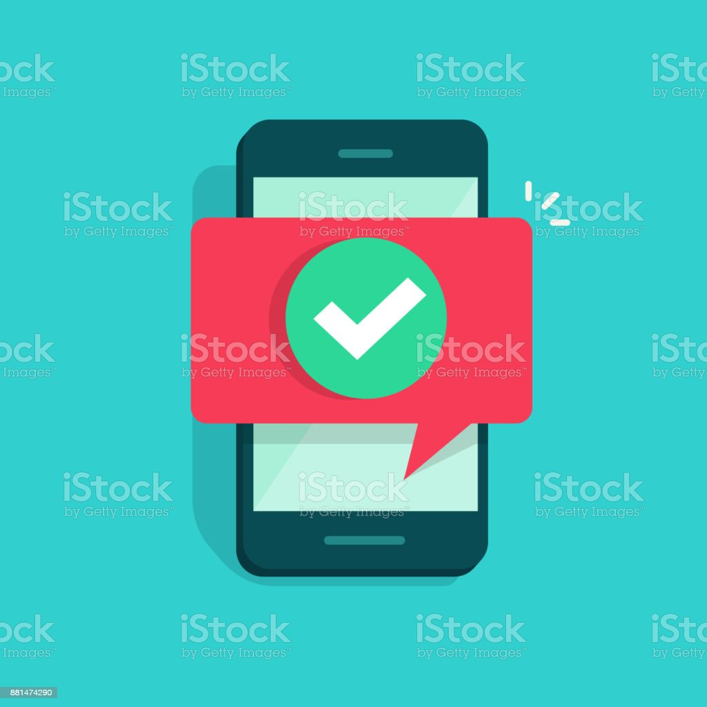 Smartphone and checkmark vector illustration, flat mobile phone approved tick notification, idea of successful update check mark, accepted, complete action on cellphone, yes or positive vote vector art illustration