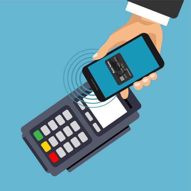 stockillustraties, clipart, cartoons en iconen met smartphone en contactloos betalen. - mobiele betaling
