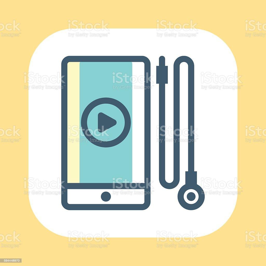 Smartphone and Earphones Symbol vector art illustration