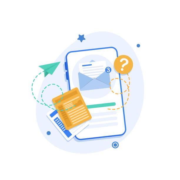 illustrazioni stock, clip art, cartoni animati e icone di tendenza di smartphone and emailing,new message on the smartphone screen - newsletter