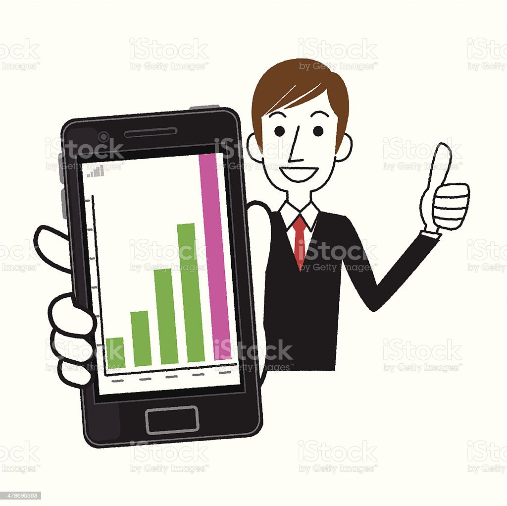 Smartphone and graph royalty-free stock vector art