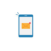 istock Smartphone and Message Notification Icon Flat Design. 1218031083