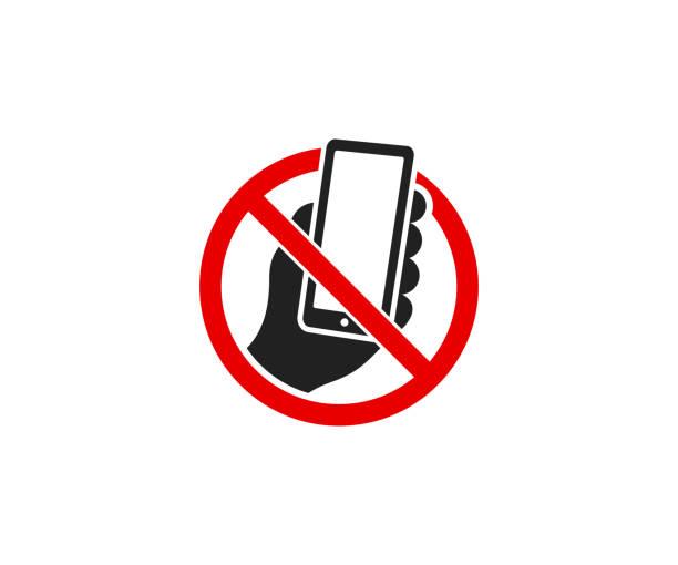 smartphone und verbots-schild-logo-design. es ist verboten, ein handy-vektor-design verwenden. warnung-zeichen-darstellung - ausstoßen stock-grafiken, -clipart, -cartoons und -symbole
