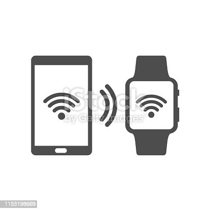 smartphone and smart watch wireless connection vector icon isolated on white background. web icon for mobile and ui design