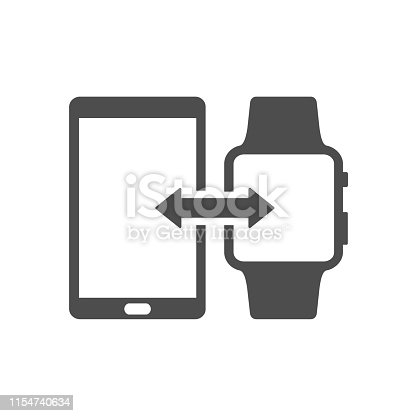 smartphone and smart watch wireless connection synchronization vector icon isolated on white background. web icon for mobile and ui design