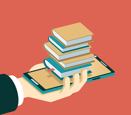 Smartphone and Stack of Books