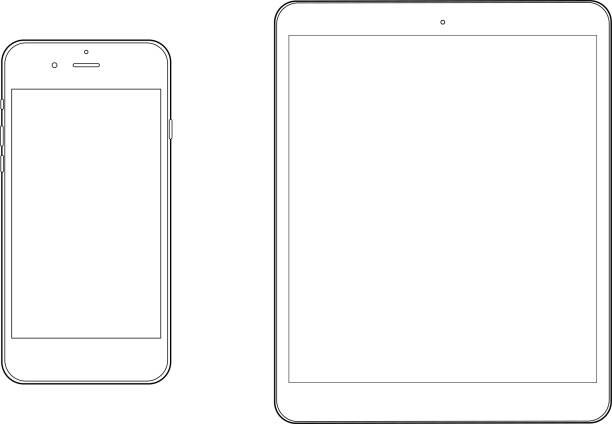 smartphone and tablet pc Mockup set This is a vector illustration. website wireframe stock illustrations