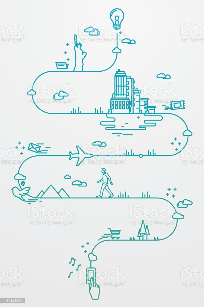 Smartphone and travel around the world vector art illustration