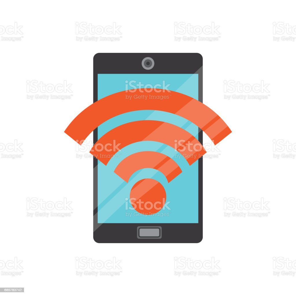 Smartphone and wifi icon. Gadget design. Vector graphic royalty-free smartphone and wifi icon gadget design vector graphic stock vector art & more images of cell