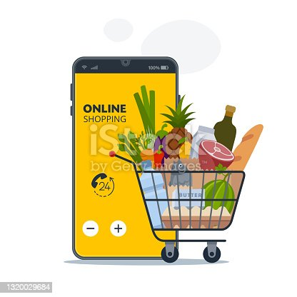 istock Smartphone app and grocery delivery at home. 1320029684