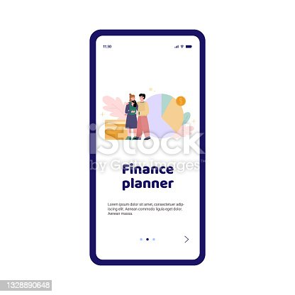 istock Smartphone app planner of family financial budget a vector illustration. 1328890648