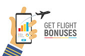 Smartphone app to control your flight miles bonuses vector illustration with text template Isolated hand of captain airplane hold phone on white background.