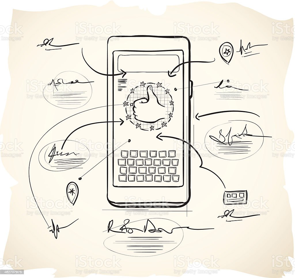 Smartphone application design vector art illustration