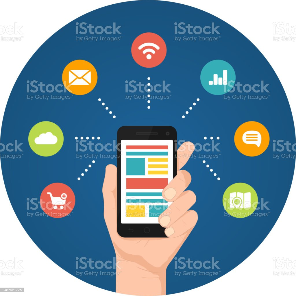 Smartphone apps infographics vector art illustration