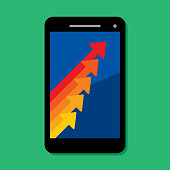 Vector illustration of a smartphone with arrows pointing up against a green background in flat style.