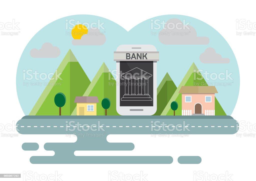 Smartphone online concept platteland banking - Royalty-free Apparatuur vectorkunst