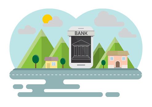 Smartphone Online Concept Platteland Banking Stockvectorkunst en meer beelden van Apparatuur