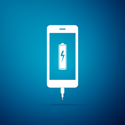 Smartphone Battery Charge Icon Isolated On Blue Background ...