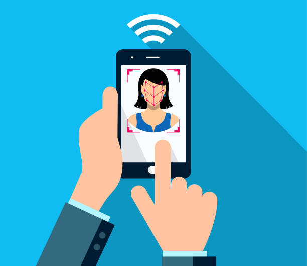 smartphone bio-metrics of a woman , face detection, recognition and identification - facial recognition stock illustrations
