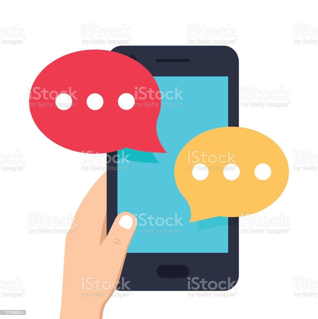Smartphone-schwarz, im Chat Sms app Vorlage Luftblasen. Menschliche Hand halten Handy mit Meldung auf dem Bildschirm. – Vektorgrafik