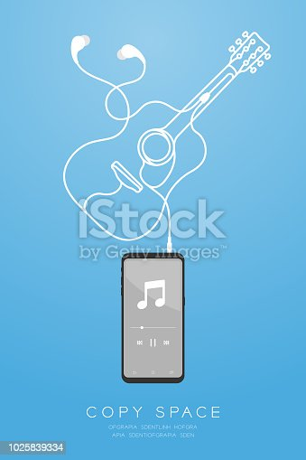Smartphone black color and Earphones in ear type flat design, acoustic guitar shape made from cable illustration isolated on blue gradient background, with copy space