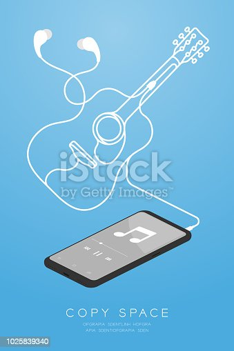 Smartphone black color and Earphones in ear type isometric flat design, acoustic guitar shape made from cable illustration isolated on blue gradient background, with copy space