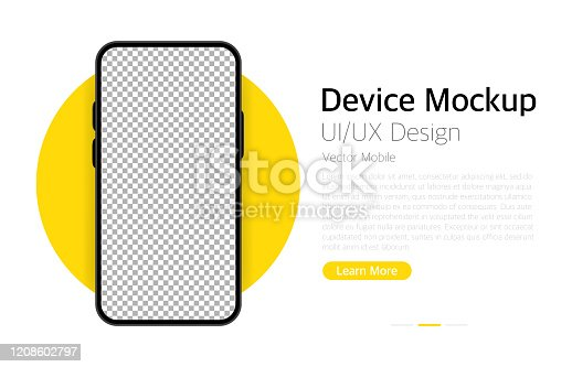 istock Smartphone blank screen. Device mockup. UI and UX design interface. Vector 1208602797