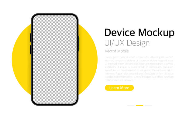 smartphone blank screen. device mockup. ui and ux design interface. vector - лекало stock illustrations