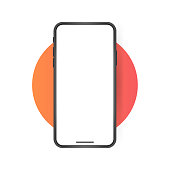 istock Smartphone blank screen, phone mockup. Template for infographics or presentation UI design interface 1199870378