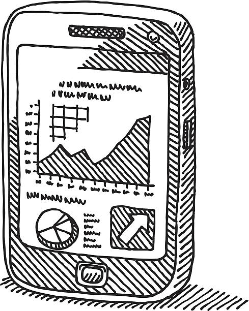 Smartphone Business Graph Drawing Hand-drawn vector sketch of a Smart Phone with a successful Business Graph on the Screen. Black-and-White sketch on a transparent background (.eps-file). Included files: EPS (v8) and Hi-Res JPG. business stock illustrations