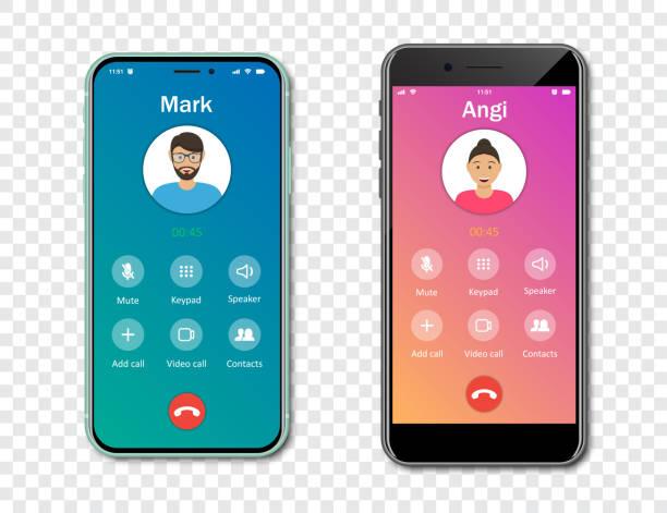 illustrazioni stock, clip art, cartoni animati e icone di tendenza di modello di interfaccia dell'app per chiamate per smartphone su uno sfondo trasparente. concetto di chiamata in arrivo. illustrazione vettoriale - video call