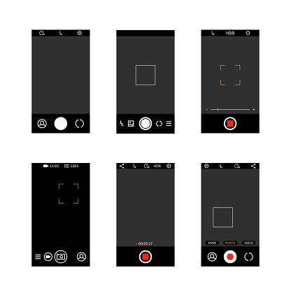 Smartphone camera screen interface. Modern social media mobile application ui photo frame design, camera settings buttons vector template